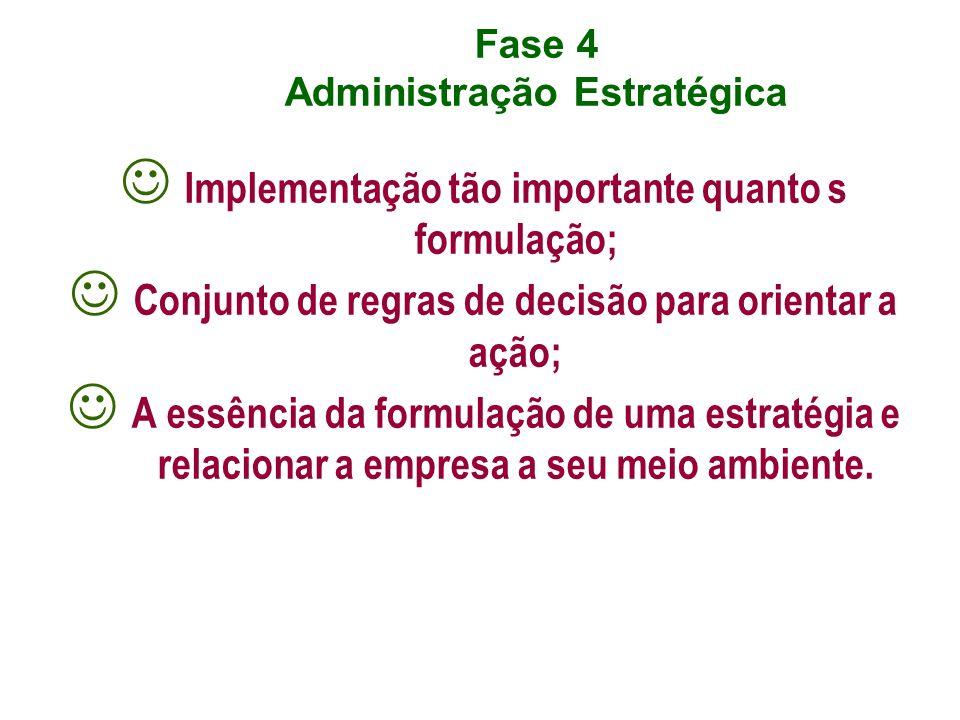 Fase 4 Administração Estratégica Implementação tão importante quanto s formulação; Conjunto de regras de decisão para orientar a ação; A essência da f