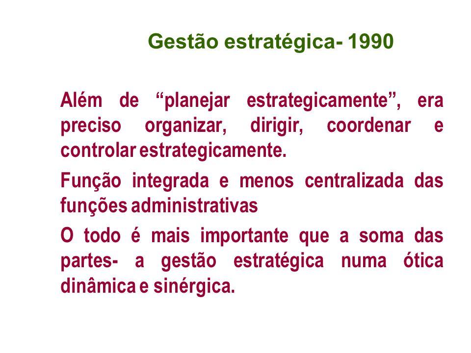 Além de planejar estrategicamente, era preciso organizar, dirigir, coordenar e controlar estrategicamente. Função integrada e menos centralizada das f