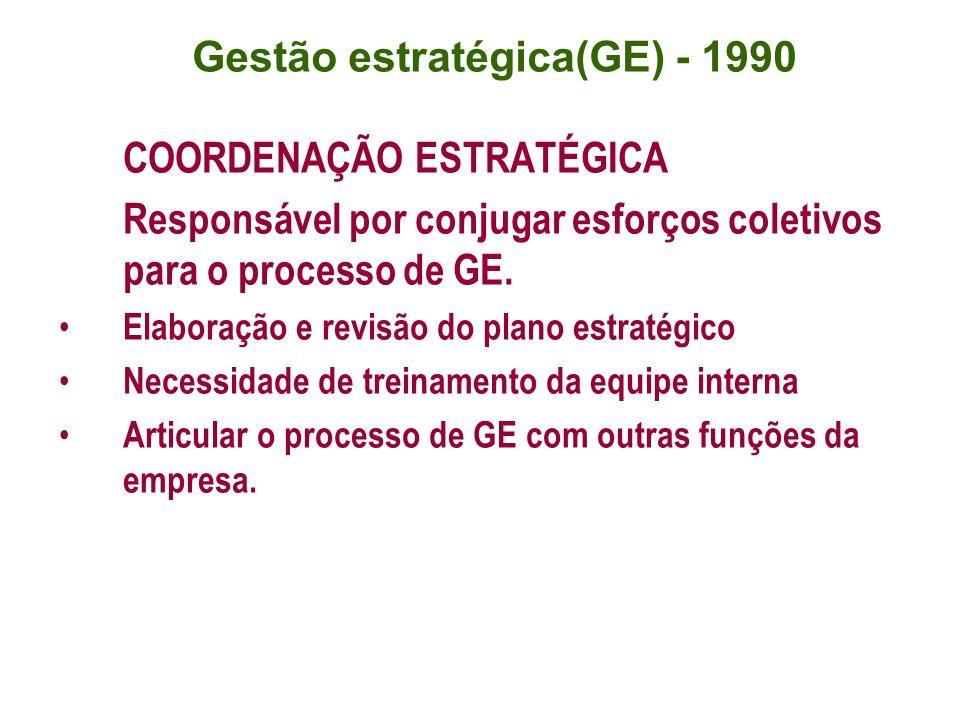 COORDENAÇÃO ESTRATÉGICA Responsável por conjugar esforços coletivos para o processo de GE. Elaboração e revisão do plano estratégico Necessidade de tr