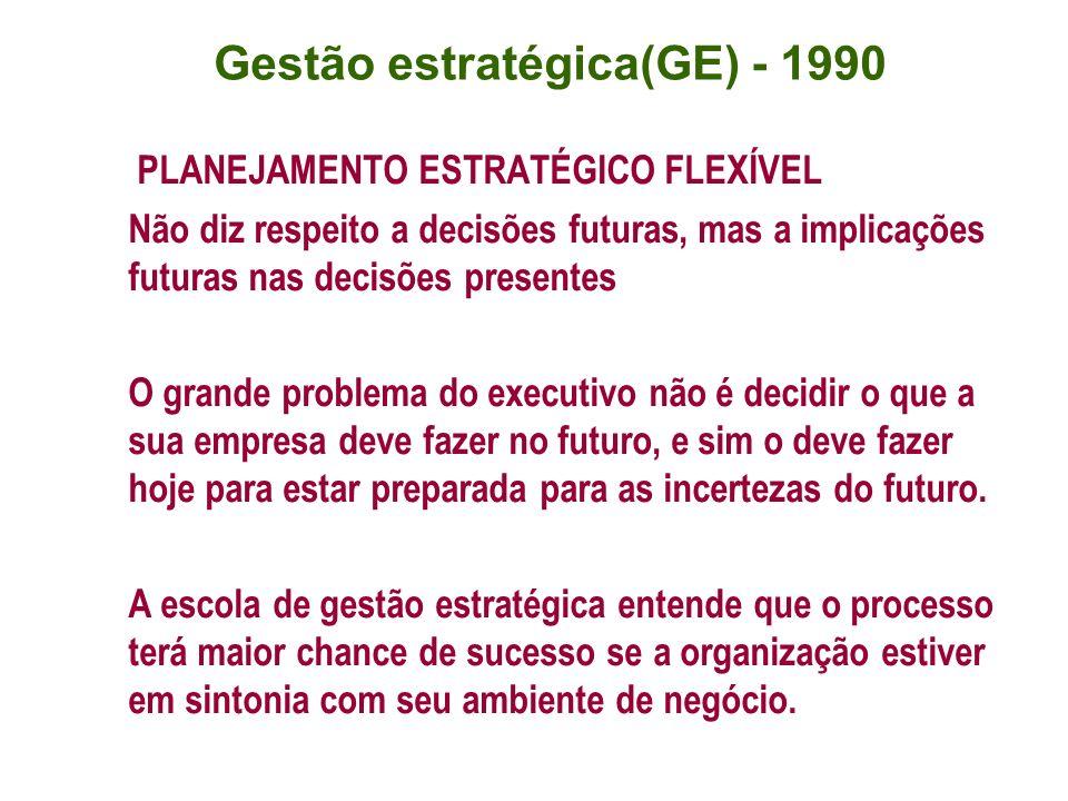 PLANEJAMENTO ESTRATÉGICO FLEXÍVEL Não diz respeito a decisões futuras, mas a implicações futuras nas decisões presentes O grande problema do executivo