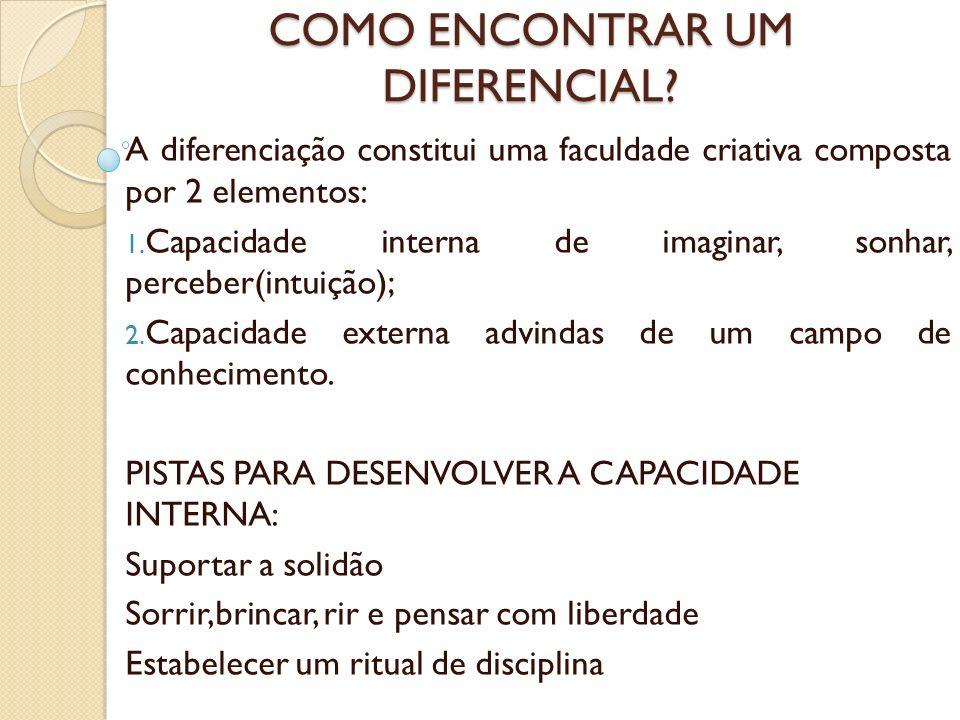COMO ENCONTRAR UM DIFERENCIAL? A diferenciação constitui uma faculdade criativa composta por 2 elementos: 1. Capacidade interna de imaginar, sonhar, p