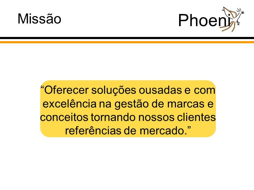 Phoeni Oferecer soluções ousadas e com excelência na gestão de marcas e conceitos tornando nossos clientes referências de mercado.