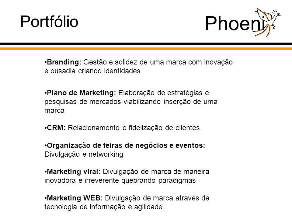 Phoeni Branding: Gestão e solidez de uma marca com inovação e ousadia criando identidades Plano de Marketing: Elaboração de estratégias e pesquisas de mercados viabilizando inserção de uma marca CRM: Relacionamento e fidelização de clientes.