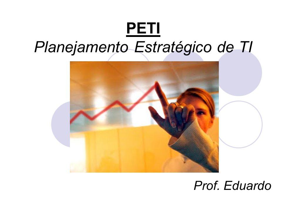 PETI – Outras características: O ambiente competitivo e a globalização influenciam o posicionamento dos negócios, sendo que: - A TI suporta as operações da organização, mas não está estratégicamente integrada a ela; - A TI suporta as estratégias, mas não participa da concepção e com seu potencial; - A TI faz parte integral de todas as estratégias organizacionais, inclusive as relacionadas a produtos, serviços, clientes, fornecedores, etc...