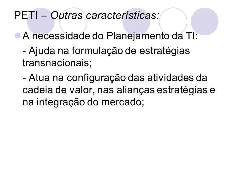PETI – Outras características: A necessidade do Planejamento da TI: - Ajuda na formulação de estratégias transnacionais; - Atua na configuração das at