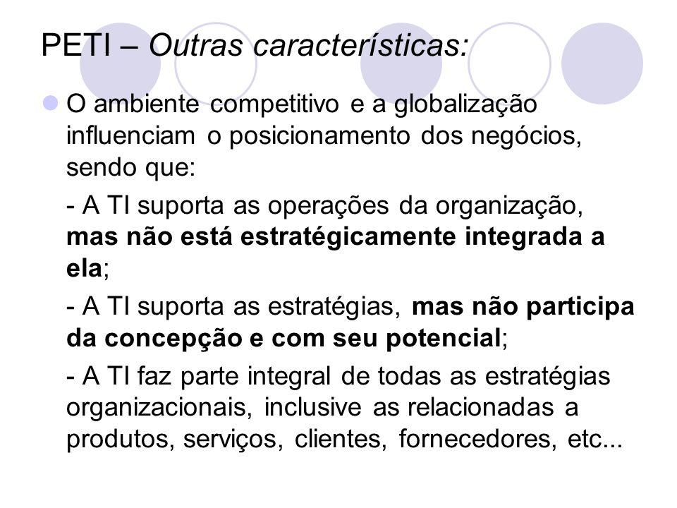 PETI – Outras características: O ambiente competitivo e a globalização influenciam o posicionamento dos negócios, sendo que: - A TI suporta as operaçõ