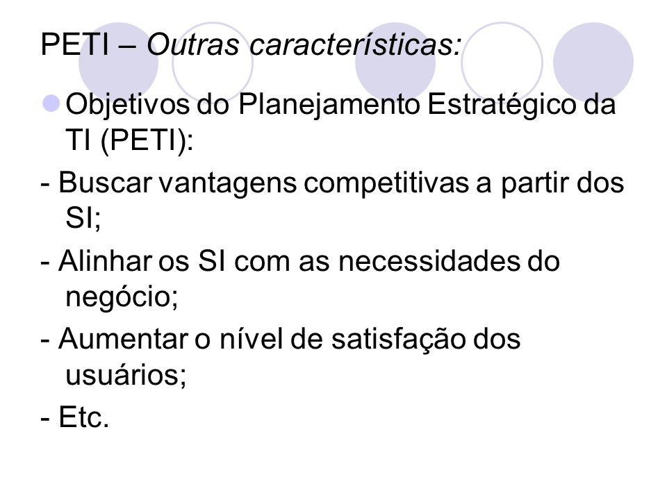 PETI – Outras características: Objetivos do Planejamento Estratégico da TI (PETI): - Buscar vantagens competitivas a partir dos SI; - Alinhar os SI co