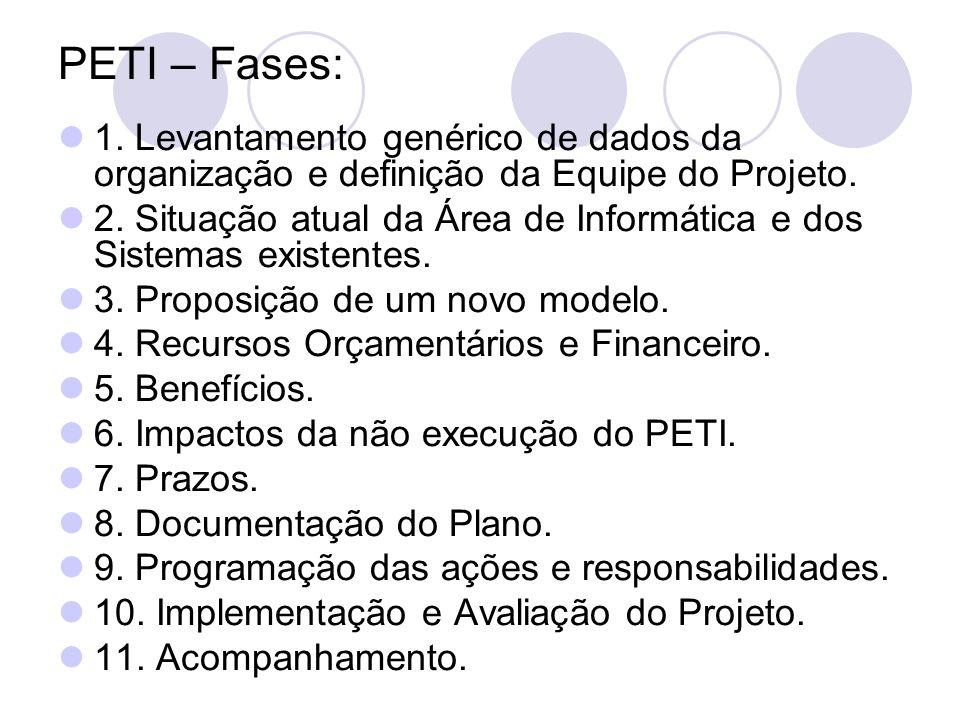 PETI – Fases: 1. Levantamento genérico de dados da organização e definição da Equipe do Projeto. 2. Situação atual da Área de Informática e dos Sistem