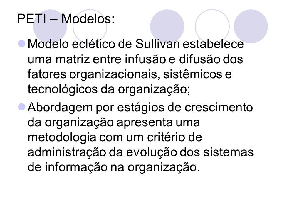 PETI – Outras características: Dificuldade do PETI - Falta de: gestão da organização, apoio, monitoramento e competência.