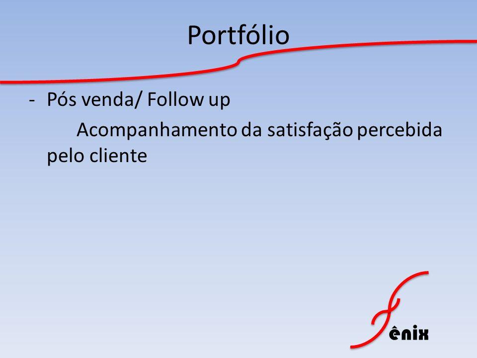 ênix Portfólio -Pós venda/ Follow up Acompanhamento da satisfação percebida pelo cliente