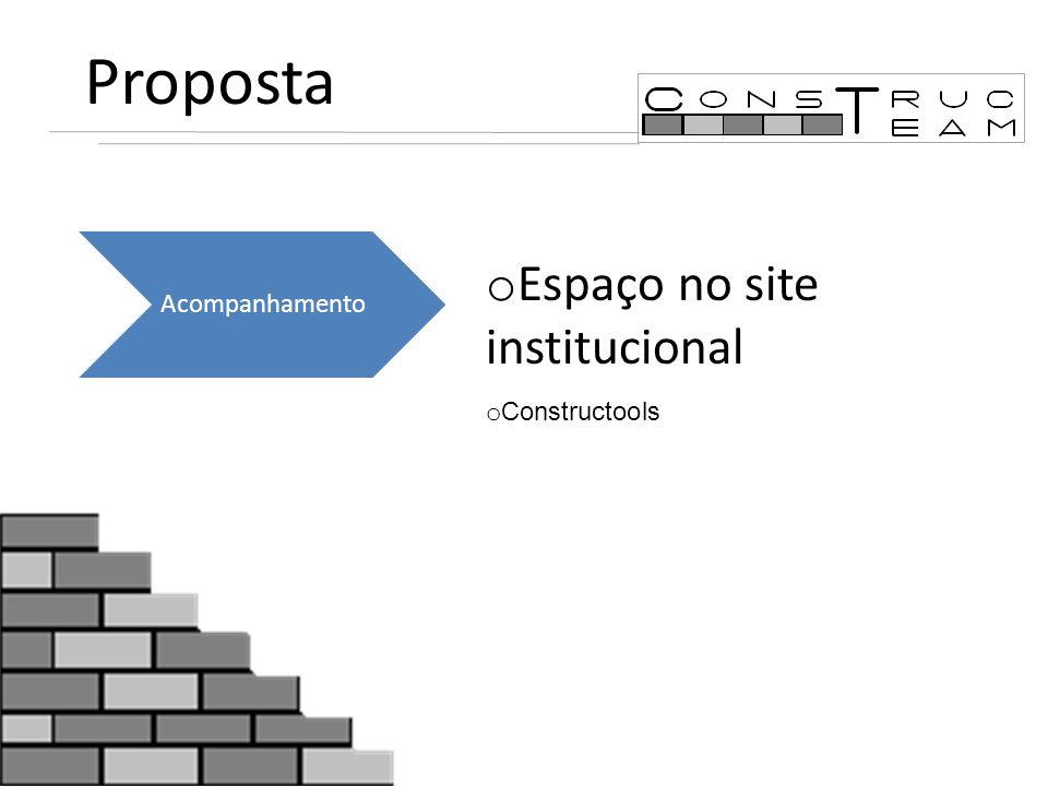Proposta o Espaço no site institucional o Constructools Acompanhamento