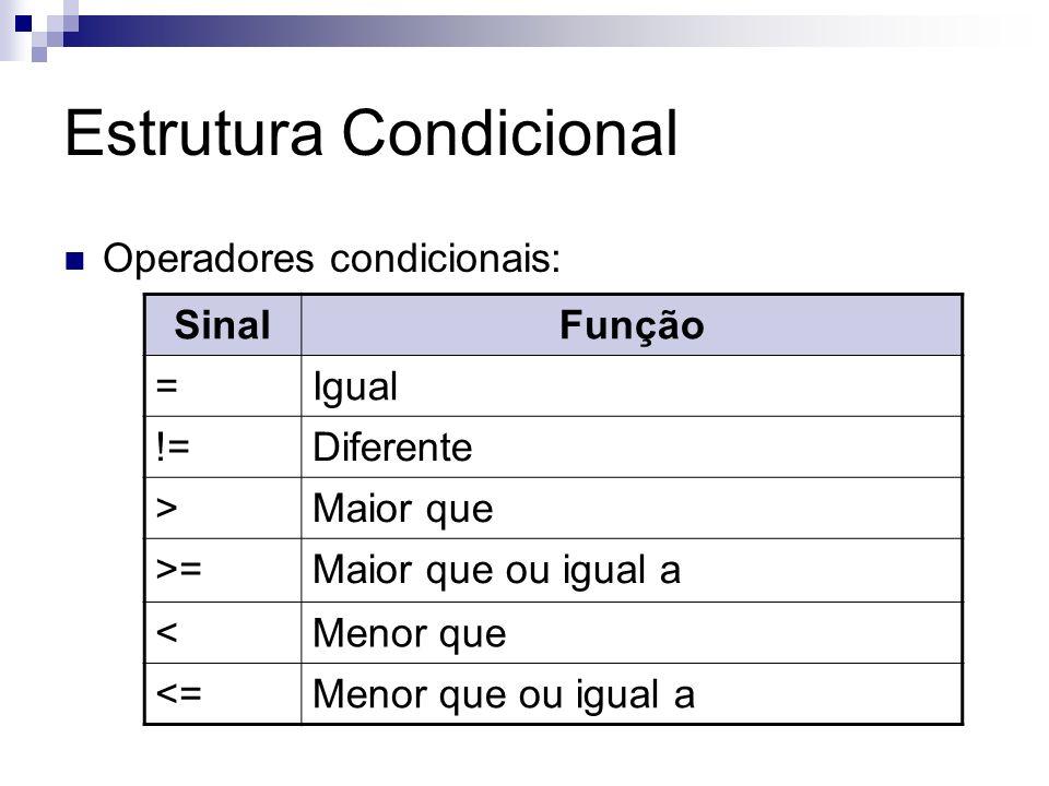Estrutura Condicional Operadores condicionais: SinalFunção =Igual !=Diferente >Maior que >=Maior que ou igual a <Menor que <=Menor que ou igual a