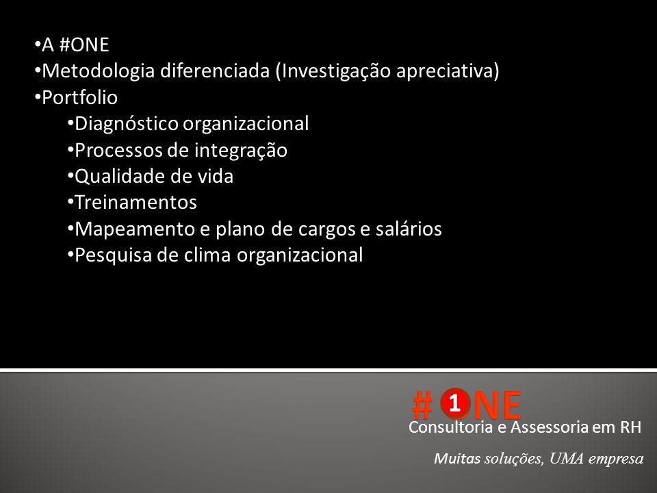 Consultoria e Assessoria em RH Muitas soluções, UMA empresa A #ONE Metodologia diferenciada (Investigação apreciativa) Portfolio Diagnóstico organizac