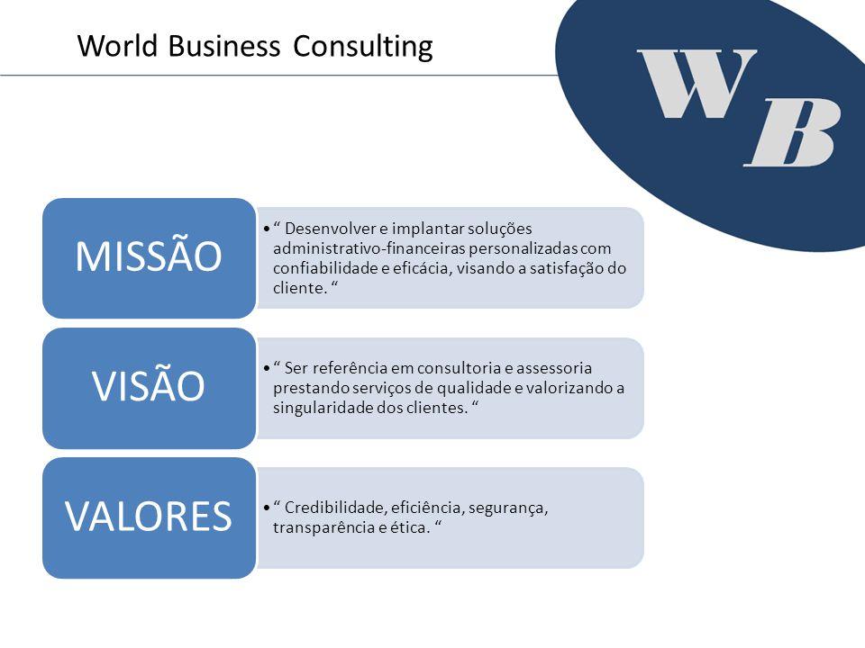 World Business Consulting Desenvolver e implantar soluções administrativo-financeiras personalizadas com confiabilidade e eficácia, visando a satisfaç