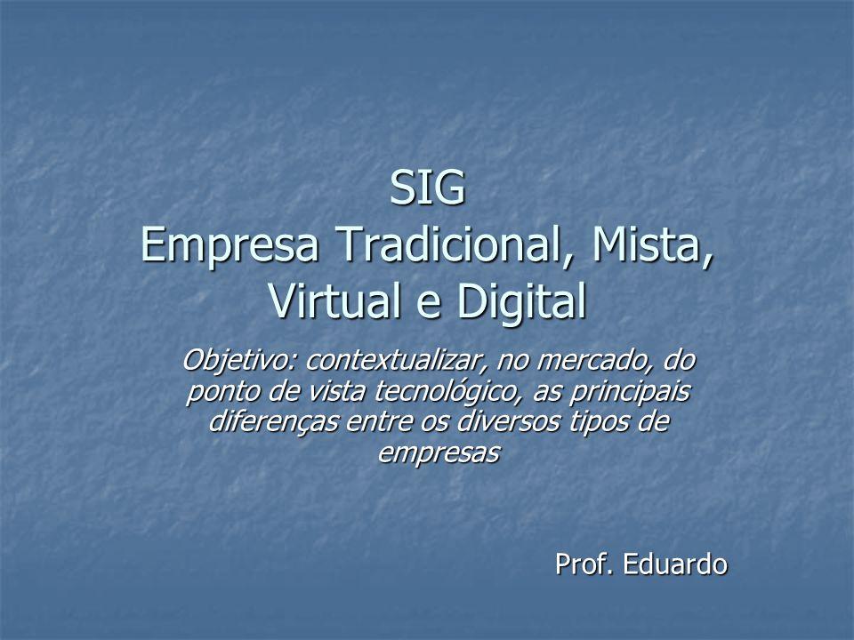 SIG Empresa Tradicional, Mista, Virtual e Digital Objetivo: contextualizar, no mercado, do ponto de vista tecnológico, as principais diferenças entre os diversos tipos de empresas Prof.