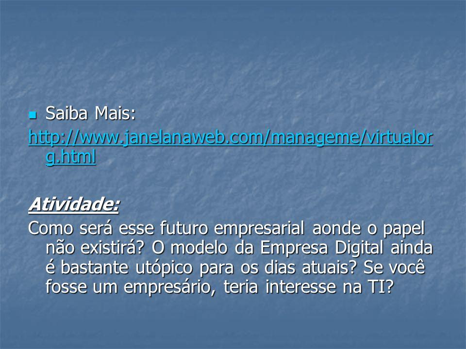 Saiba Mais: Saiba Mais: http://www.janelanaweb.com/manageme/virtualor g.html http://www.janelanaweb.com/manageme/virtualor g.htmlAtividade: Como será esse futuro empresarial aonde o papel não existirá.