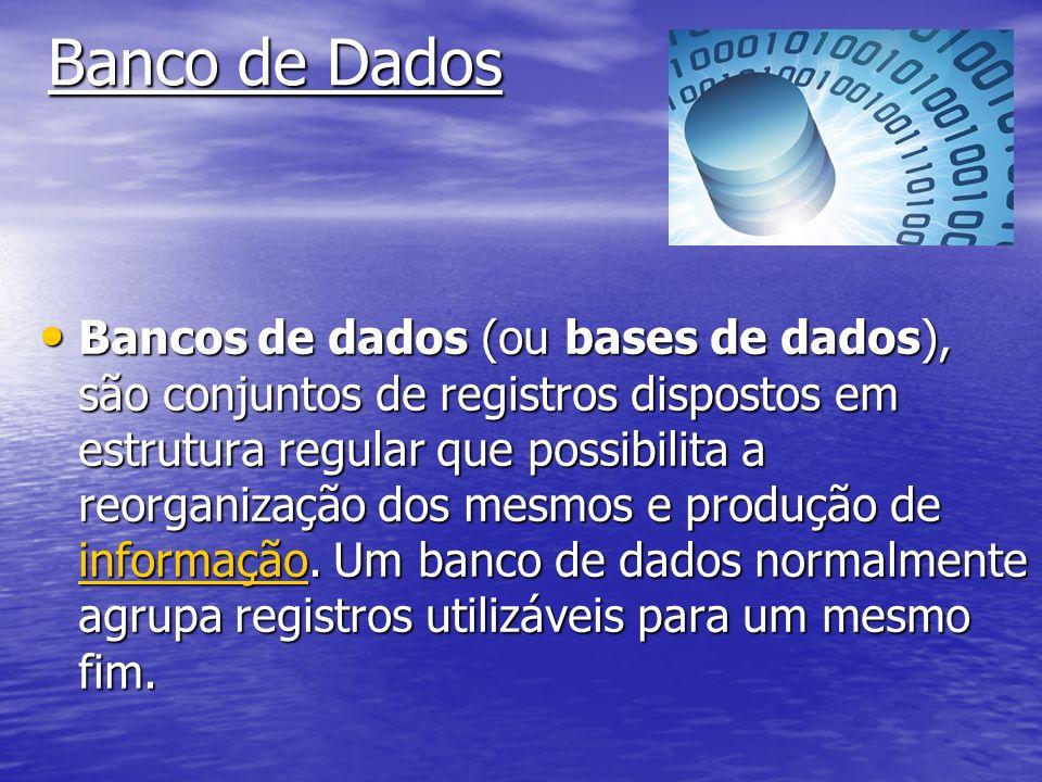 Banco de Dados Bancos de dados (ou bases de dados), são conjuntos de registros dispostos em estrutura regular que possibilita a reorganização dos mesmos e produção de informação.