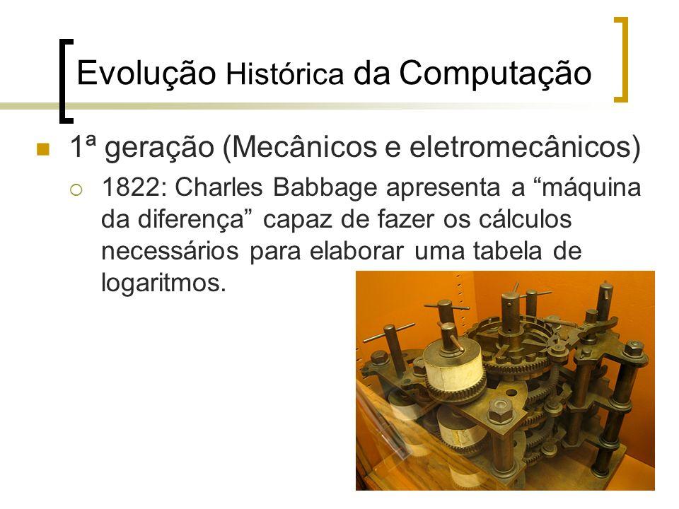 10 Evolução Histórica da Computação 1ª geração (Mecânicos e eletromecânicos) 1822: Charles Babbage apresenta a máquina da diferença capaz de fazer os cálculos necessários para elaborar uma tabela de logaritmos.