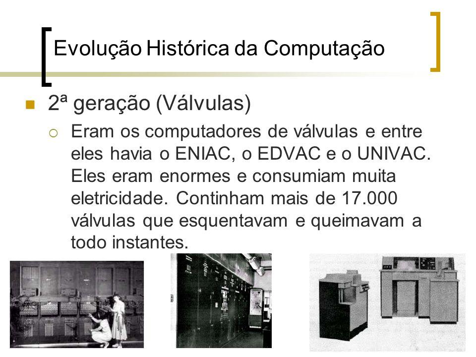 18 Evolução Histórica da Computação 2ª geração (Válvulas) Eram os computadores de válvulas e entre eles havia o ENIAC, o EDVAC e o UNIVAC. Eles eram e