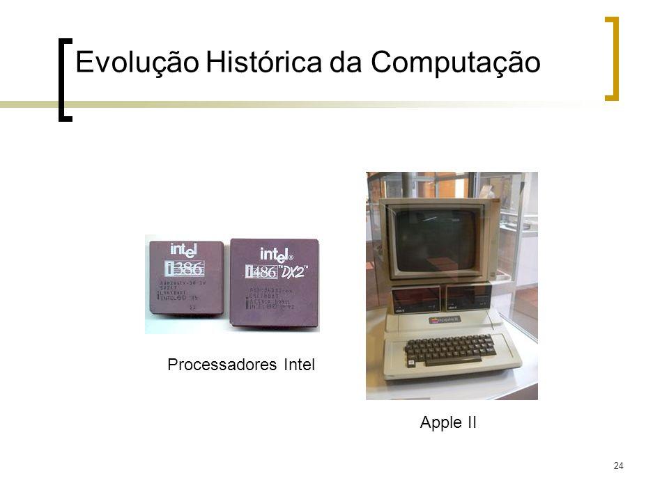 24 Evolução Histórica da Computação Processadores Intel Apple II
