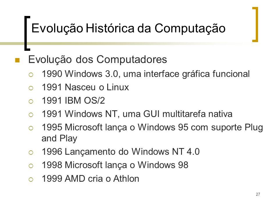 27 Evolução Histórica da Computação Evolução dos Computadores 1990 Windows 3.0, uma interface gráfica funcional 1991 Nasceu o Linux 1991 IBM OS/2 1991 Windows NT, uma GUI multitarefa nativa 1995 Microsoft lança o Windows 95 com suporte Plug and Play 1996 Lançamento do Windows NT 4.0 1998 Microsoft lança o Windows 98 1999 AMD cria o Athlon