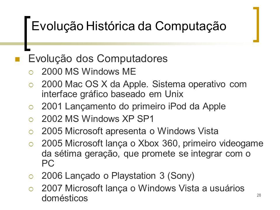 28 Evolução dos Computadores 2000 MS Windows ME 2000 Mac OS X da Apple. Sistema operativo com interface gráfico baseado em Unix 2001 Lançamento do pri