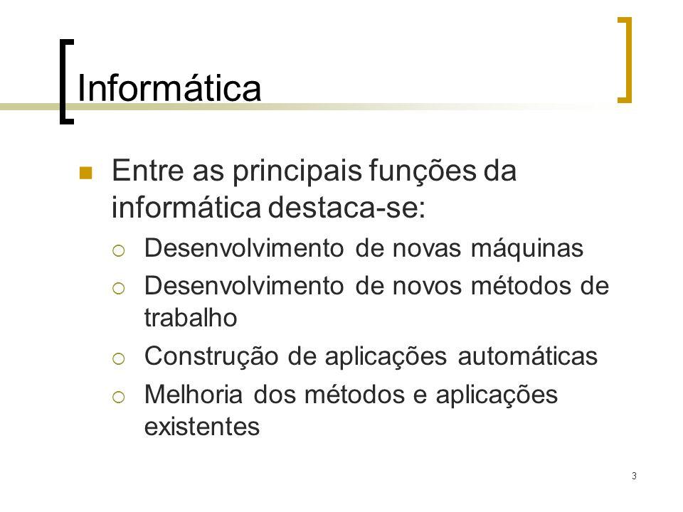 3 Informática Entre as principais funções da informática destaca-se: Desenvolvimento de novas máquinas Desenvolvimento de novos métodos de trabalho Construção de aplicações automáticas Melhoria dos métodos e aplicações existentes