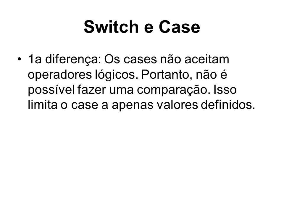 Switch e Case 2a diferença: O switch executa seu bloco em cascata.
