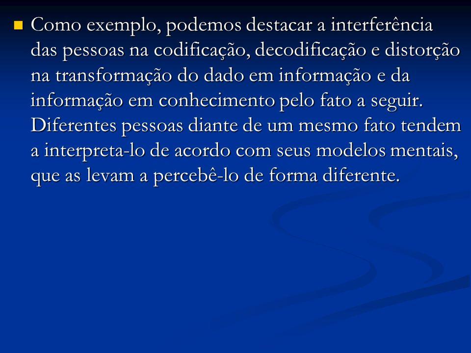 Como exemplo, podemos destacar a interferência das pessoas na codificação, decodificação e distorção na transformação do dado em informação e da infor