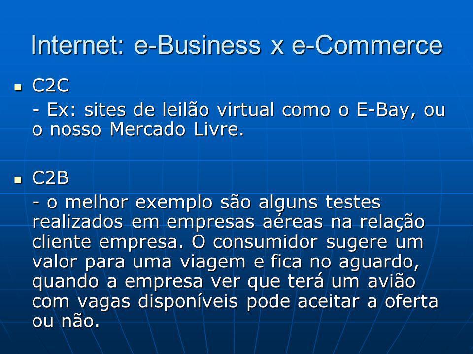Internet: e-Business x e-Commerce C2C C2C - Ex: sites de leilão virtual como o E-Bay, ou o nosso Mercado Livre. C2B C2B - o melhor exemplo são alguns