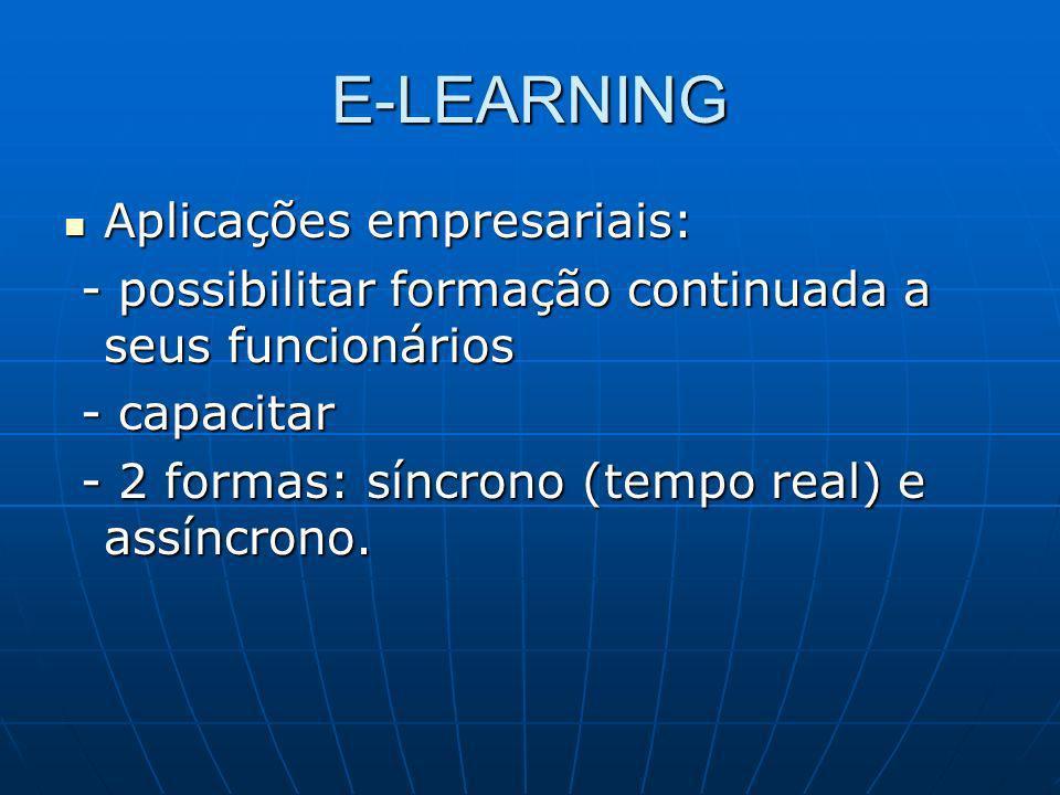 E-LEARNING Aplicações empresariais: Aplicações empresariais: - possibilitar formação continuada a seus funcionários - possibilitar formação continuada