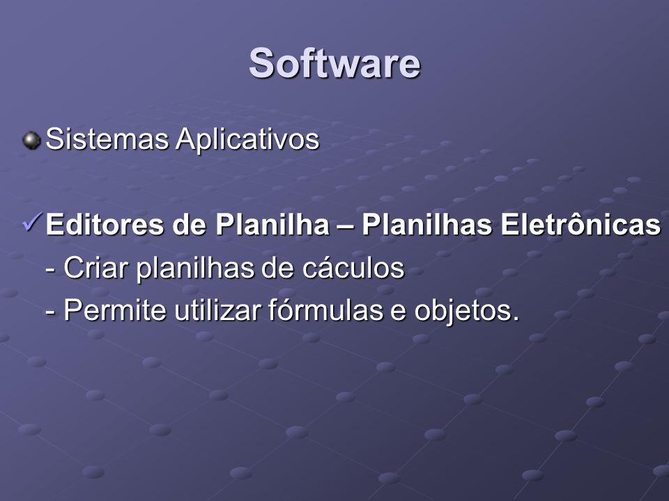 Software Sistemas Aplicativos Editores de Planilha – Planilhas Eletrônicas Editores de Planilha – Planilhas Eletrônicas - Criar planilhas de cáculos -