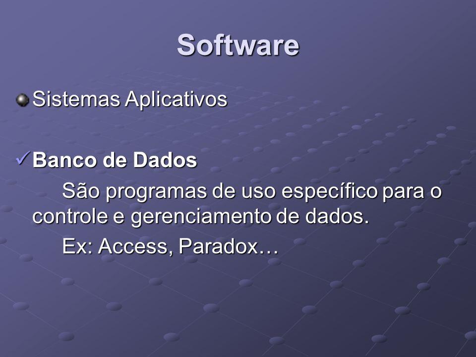 Software Sistemas Aplicativos Banco de Dados Banco de Dados São programas de uso específico para o controle e gerenciamento de dados. Ex: Access, Para