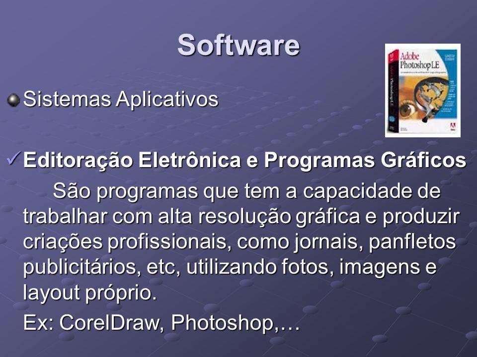 Software Sistemas Aplicativos Editoração Eletrônica e Programas Gráficos Editoração Eletrônica e Programas Gráficos São programas que tem a capacidade