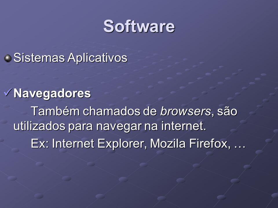 Software Sistemas Aplicativos Navegadores Navegadores Também chamados de browsers, são utilizados para navegar na internet. Ex: Internet Explorer, Moz