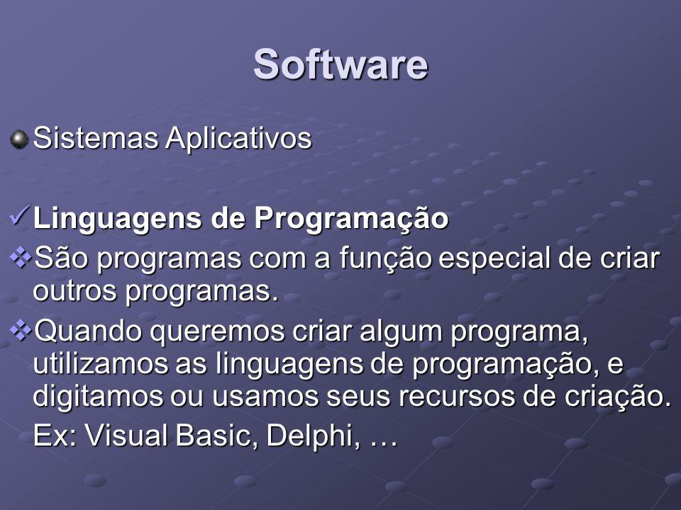 Software Sistemas Aplicativos Linguagens de Programação Linguagens de Programação São programas com a função especial de criar outros programas. São p