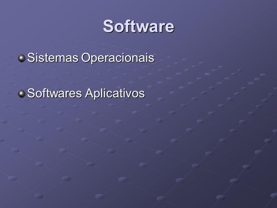 Software Sistemas Operacionais Responsável por gerenciar as informações que fazem com que a máquina se comporte de determinada maneira.