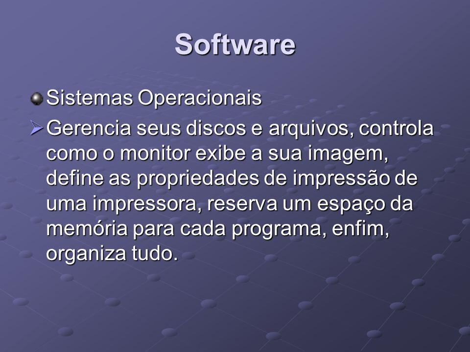Software Sistemas Operacionais Gerencia seus discos e arquivos, controla como o monitor exibe a sua imagem, define as propriedades de impressão de uma