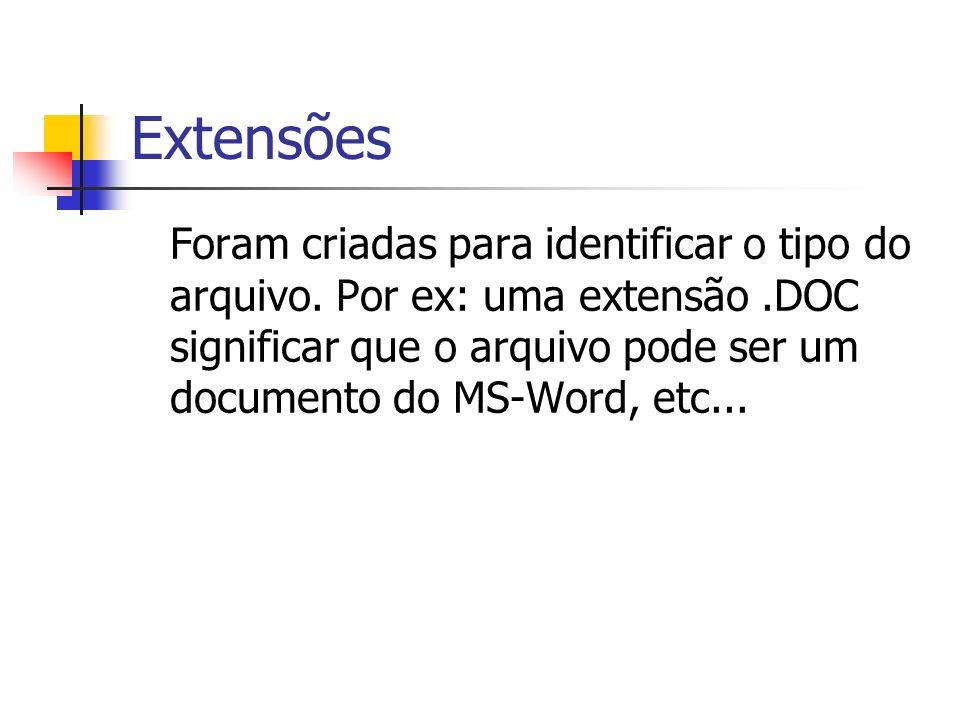 Extensões Foram criadas para identificar o tipo do arquivo. Por ex: uma extensão.DOC significar que o arquivo pode ser um documento do MS-Word, etc...