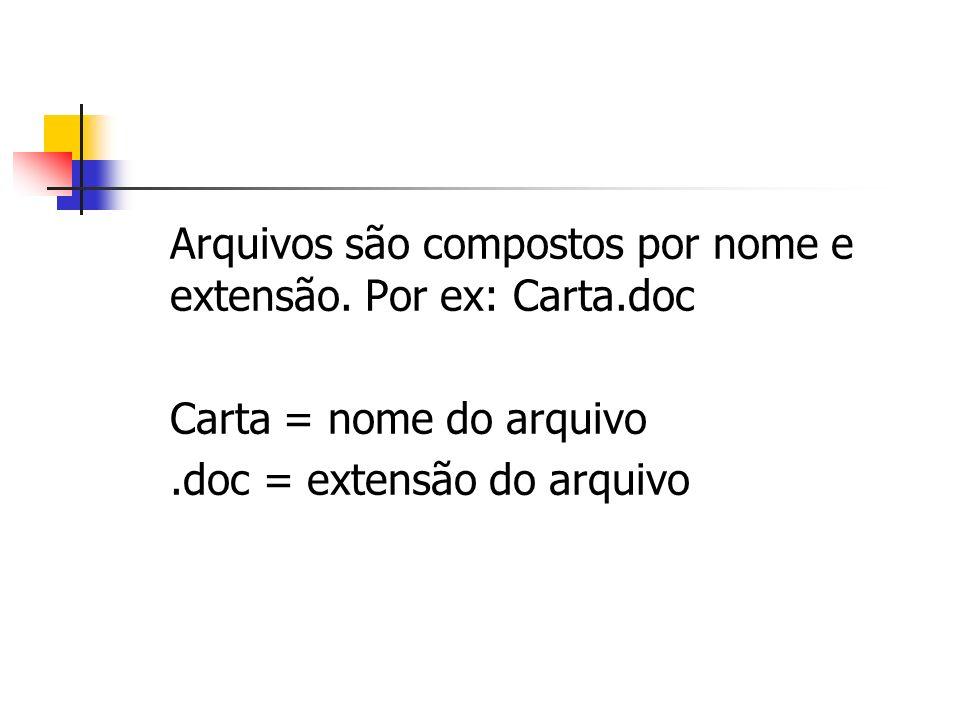 Arquivos são compostos por nome e extensão. Por ex: Carta.doc Carta = nome do arquivo.doc = extensão do arquivo