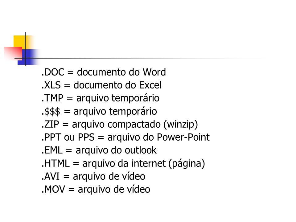 .DOC = documento do Word.XLS = documento do Excel.TMP = arquivo temporário.$$$ = arquivo temporário.ZIP = arquivo compactado (winzip).PPT ou PPS = arq