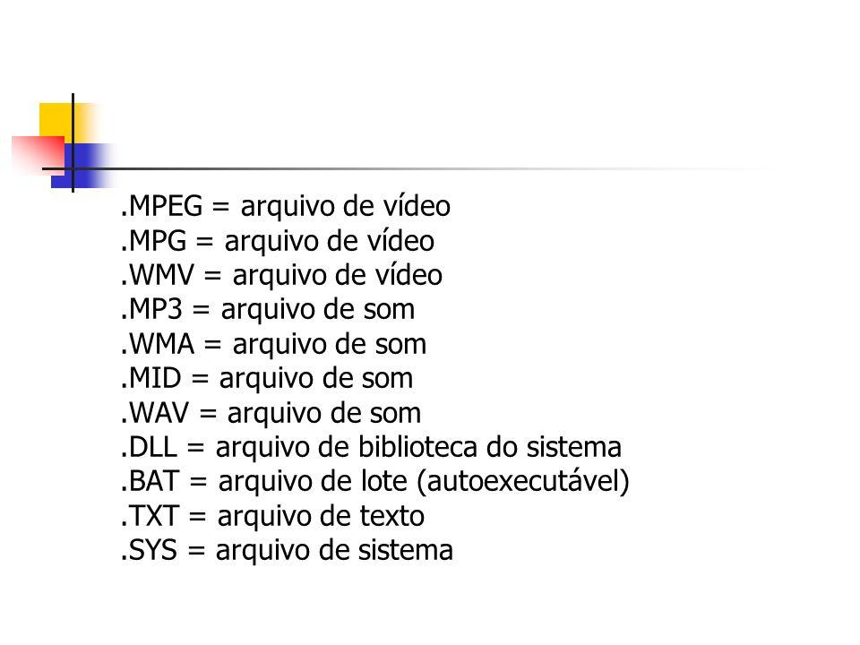 .MPEG = arquivo de vídeo.MPG = arquivo de vídeo.WMV = arquivo de vídeo.MP3 = arquivo de som.WMA = arquivo de som.MID = arquivo de som.WAV = arquivo de