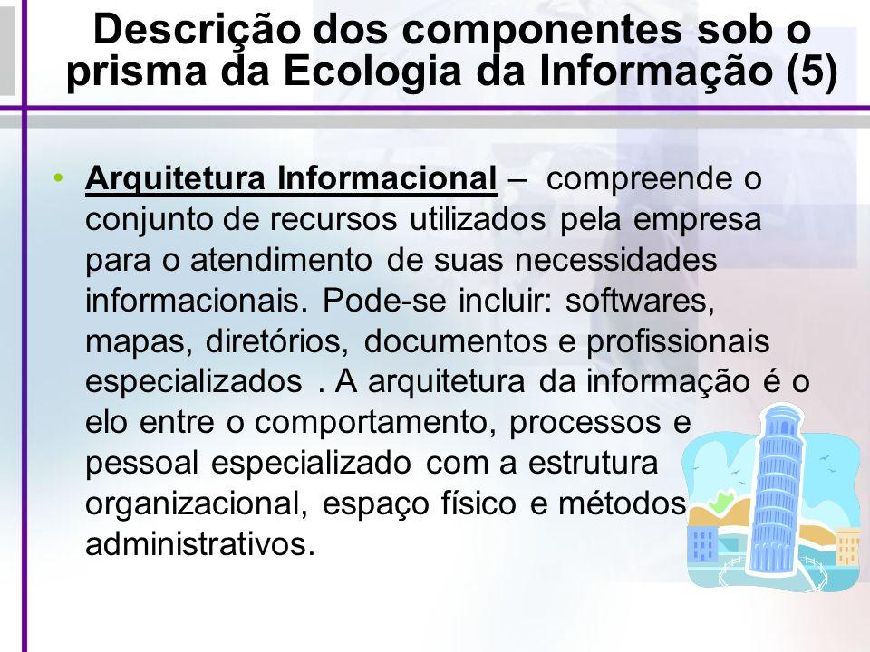 Descrição dos componentes sob o prisma da Ecologia da Informação (5) Arquitetura Informacional – compreende o conjunto de recursos utilizados pela emp