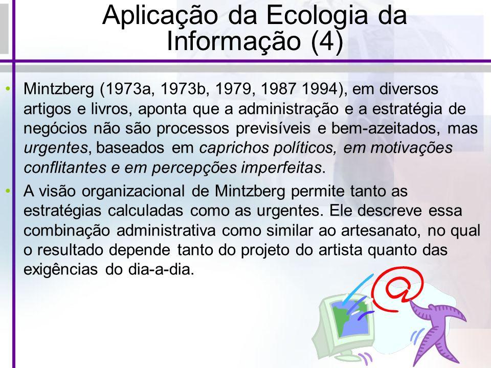 Aplicação da Ecologia da Informação (4) Mintzberg (1973a, 1973b, 1979, 1987 1994), em diversos artigos e livros, aponta que a administração e a estrat
