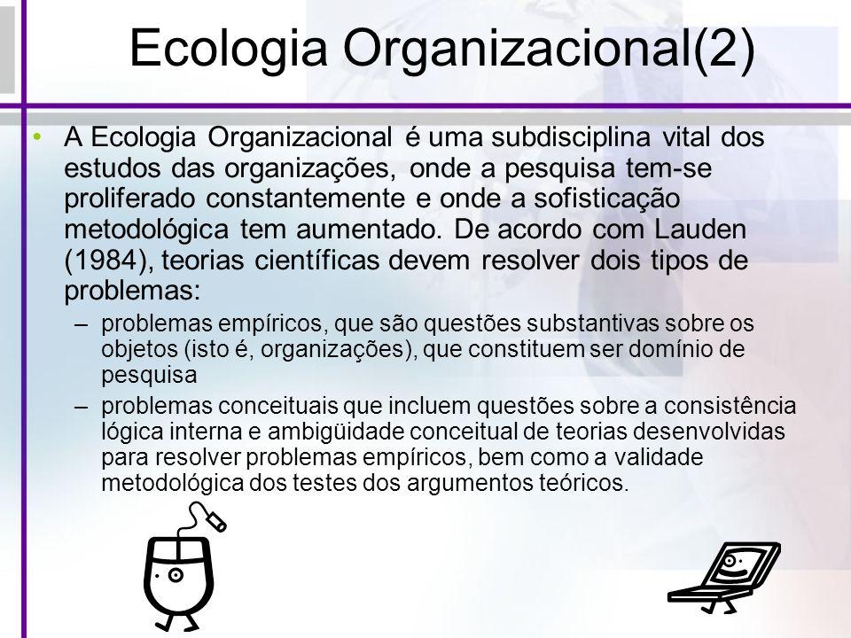 Ecologia Organizacional(2) A Ecologia Organizacional é uma subdisciplina vital dos estudos das organizações, onde a pesquisa tem-se proliferado consta