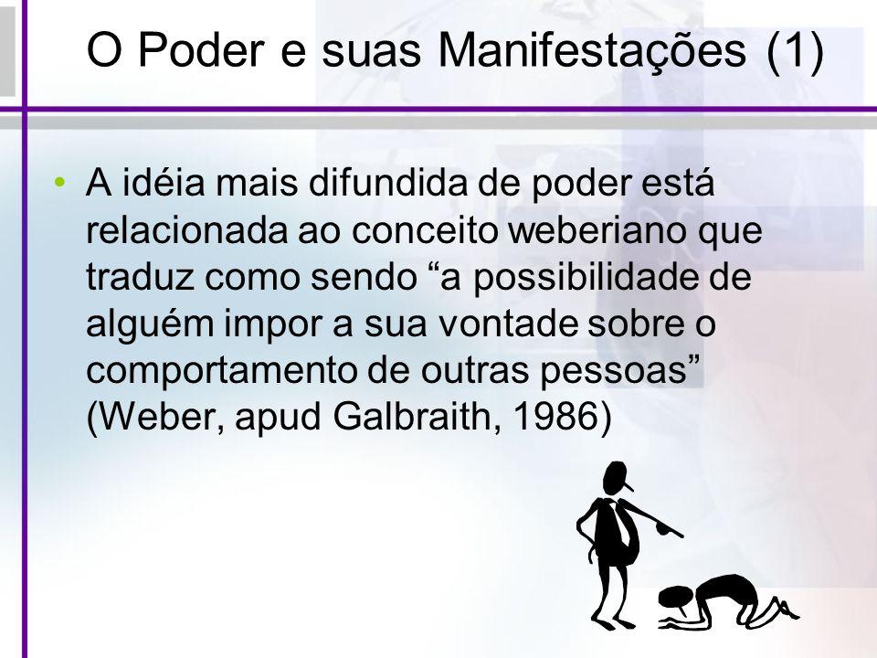 O Poder e suas Manifestações (1) A idéia mais difundida de poder está relacionada ao conceito weberiano que traduz como sendo a possibilidade de algué