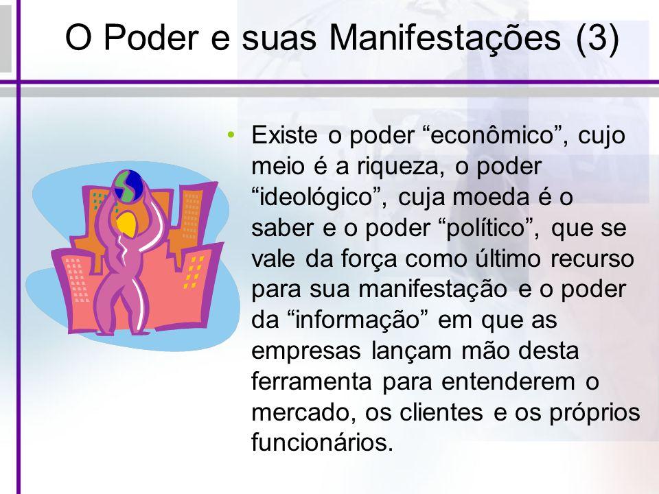 O Poder e suas Manifestações (3) Existe o poder econômico, cujo meio é a riqueza, o poder ideológico, cuja moeda é o saber e o poder político, que se
