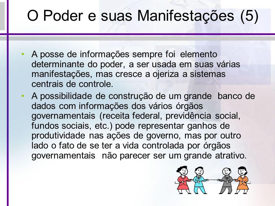 O Poder e suas Manifestações (5) A posse de informações sempre foi elemento determinante do poder, a ser usada em suas várias manifestações, mas cresc