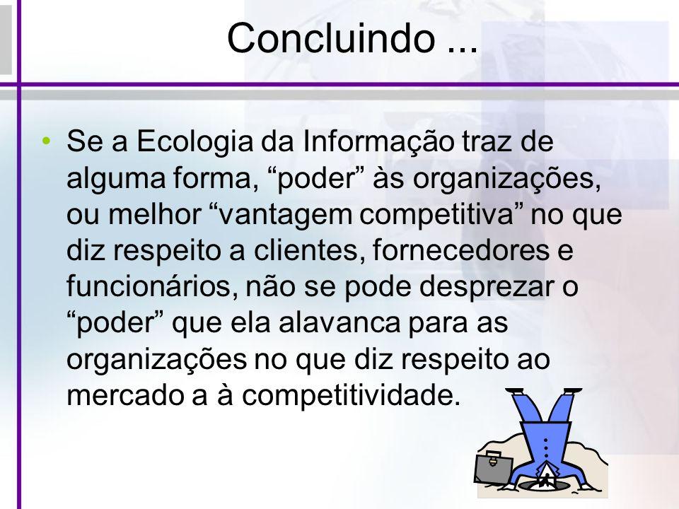 Concluindo... Se a Ecologia da Informação traz de alguma forma, poder às organizações, ou melhor vantagem competitiva no que diz respeito a clientes,