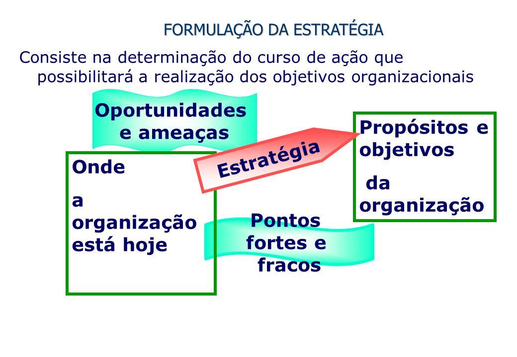 FORMULAÇÃO DA ESTRATÉGIA Consiste na determinação do curso de ação que possibilitará a realização dos objetivos organizacionais Pontos fortes e fracos